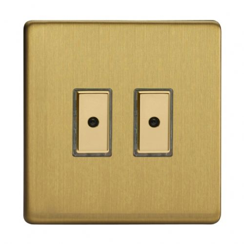Varilight JDBE102S Screwless Brushed Brass 2 Gang V-Pro Remote/Touch Master LED Dimmer 0-100W